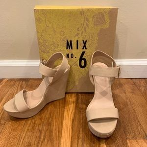 Mix No.6 Jordie wedges in Bone size 8